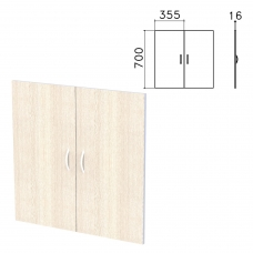 Дверь ЛДСП низкая 'Бюджет', КОМПЛЕКТ 2 шт., 355х16х700 мм, дуб шамони светлый, 402879-430