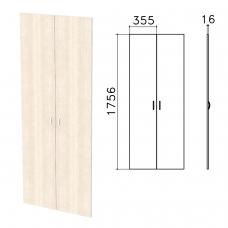 Дверь ЛДСП высокая Бюджет, КОМПЛЕКТ 2 шт., 355х16х1756 мм, дуб шамони светлый, 402880-430