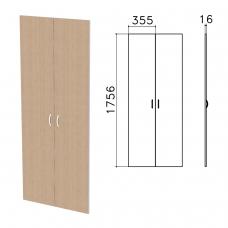 Дверь ЛДСП высокая 'Бюджет', КОМПЛЕКТ 2 шт., 355х16х1756 мм, орех онтарио, 402880-160