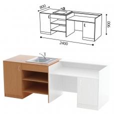 Стол ПАКЕТ 1 для кабинета химии, 2400х800х900 мм, ЛДСП бук/пластик