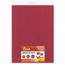 Цветной фетр для творчества, 400х600 мм, BRAUBERG/ОСТРОВ СОКРОВИЩ, 3 листа, толщина 4 мм, плотный, красный, 660658