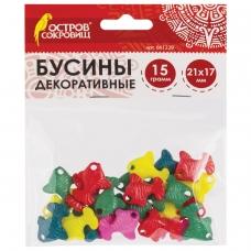 Бусины для творчества 'Рыбки', 21х17 мм, 15 грамм, 5 цветов, ОСТРОВ СОКРОВИЩ, 661229