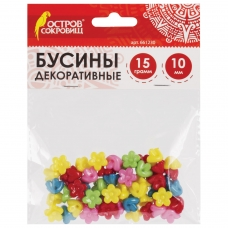 Бусины для творчества 'Цветы', 10 мм, 15 грамм, 5 цветов, ОСТРОВ СОКРОВИЩ, 661230