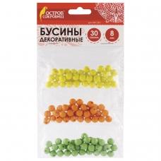 Бусины для творчества 'Шарики', 8 мм, 30 грамм, желтые, оранжевые, зеленые, ОСТРОВ СОКРОВИЩ, 661234