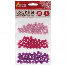 Бусины для творчества 'Шарики', 8 мм, 30 грамм, светло-розовые, розовые, фиолетовые, ОСТРОВ СОКРОВИЩ, 661235