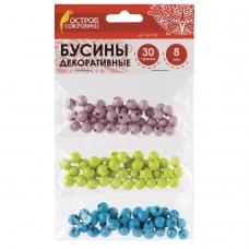 Бусины для творчества 'Шарики', 8 мм, 30 грамм, серые, голубые, салатовые, ОСТРОВ СОКРОВИЩ, 661238