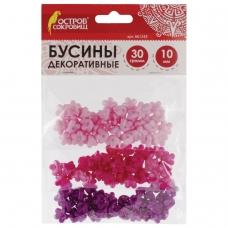 Бусины для творчества 'Цветы', 10 мм, 30 грамм, светло-розовые, розовые, фиолетовые, ОСТРОВ СОКРОВИЩ, 661245