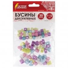 Бусины для творчества 'Микс №1', 7-12 мм, 30 грамм, 6 цветов, пастель, ОСТРОВ СОКРОВИЩ, 661253