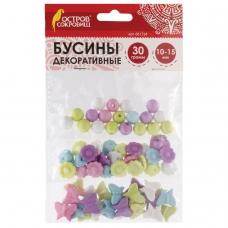 Бусины для творчества 'Микс №2', 10-15 мм, 30 грамм, 6 цветов, пастель, ОСТРОВ СОКРОВИЩ, 661254