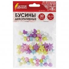 Бусины для творчества 'Микс №3', 10-13 мм, 30 грамм, 6 цветов, пастель, ОСТРОВ СОКРОВИЩ, 661255