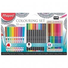 Набор для творчества MAPED 'Graph'Peps', 10 фломастеров, 10 капиллярных ручек, 12 двусторонних цветных каранд., точилка, блистер, 897417