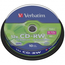Диск CD-RW 700Mb Verbatim 8-12x Cake Box 10шт
