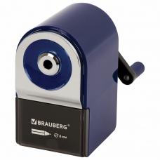 Точилка механическая BRAUBERG ORIGINAL, для чернографитных и цветных карандашей, крепление к столу, корпус синий, 228480