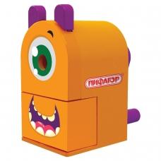 Точилка механическая ПИФАГОР Монстрик, корпус оранжевый, для чернографитных и цветных карандашей, 228477
